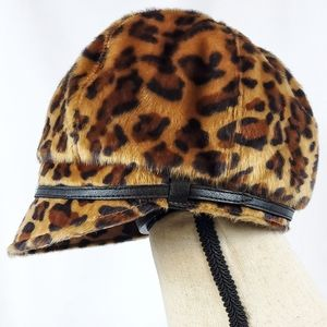 🥀San Diego Hat Co Faux Leopard Cabbie Newsboy Hat